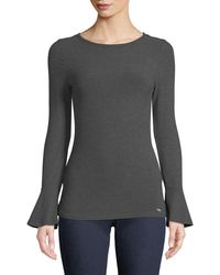 MICHAEL Michael Kors - Ribbed Bell-sleeve Top - Lyst