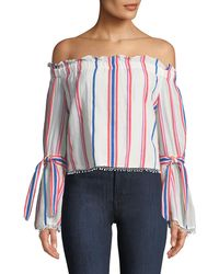 Red Carter - Off-the-shoulder Awning-striped Bell-sleeve Blouse - Lyst