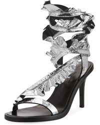 Isabel Marant | Ansel Ruffled Metallic Cracked-leather Sandals | Lyst