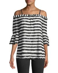 Karl Lagerfeld - Off-the-shoulder Lace-striped Blouse - Lyst