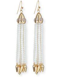 Lulu Frost - Beaded White Tassel Drop Earrings - Lyst