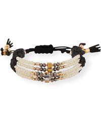 Nakamol - Adjustable Beaded Crystal And Leather Bracelet - Lyst