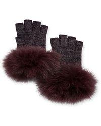 Neiman Marcus - Metallic Knit Fingerless Gloves W/ Fur Cuffs - Lyst