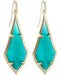 Kendra Scott Olivia Drop Earrings Emerald-hue Cat's Eye - Green