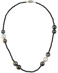 Belpearl - 14k White Gold Black Spinel & Pearl Necklace - Lyst