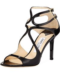 3625c731bef Jimmy Choo - Ivette Strappy Patent Leather Sandal - Lyst