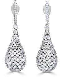 Neiman Marcus - 14k White Gold Diamond Teardrop Earrings - Lyst