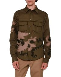 Valentino - Unfinished-hem Panther-embroidered Military Shirt - Lyst