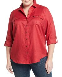 Go> By Go Silk - Linen Easy Button-front Shirt - Lyst