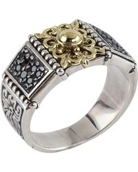 Konstantino - Asteri Floral Pave Black Diamond Band Ring - Lyst