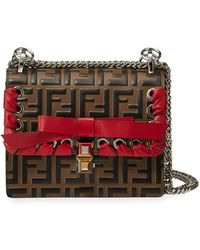 e663d7a862 Fendi - Kan I Small Ff Embossed Shoulder Bag With Ribbon - Lyst