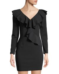 Alexia Admor - Ruffle-trimmed Long-sleeve V-neck Dress - Lyst