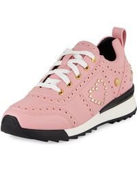 Love Moschino - Power Studded Perforated Sneakers - Lyst