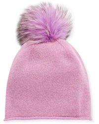 Neiman Marcus - Slouchy Cashmere Fox Fur Pompom Hat - Lyst