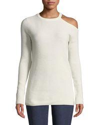 Velvet By Graham & Spencer Cashmere Cold-shoulder Long-sleeve Top