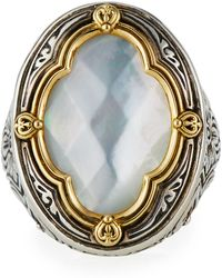 Konstantino - Silver & 18k Gold Mother-of-pearl Oval Ring - Lyst
