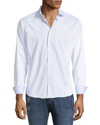 Neiman Marcus - Slim-fit Regular-finish Wear-it-out Micro-dot Sport Shirt - Lyst