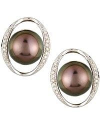 Belpearl | 14k White Gold Tahitian Pearl & Diamond Stud Earrings | Lyst