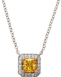 Fantasia by Deserio - Cz Princess Pave Pendant Necklace - Lyst