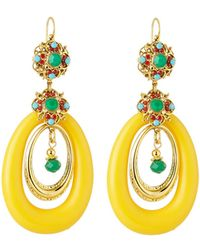 Jose & Maria Barrera - Lucite® Hoop Drop Earrings Yellow - Lyst