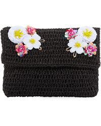 San Diego Hat Company - Paper Clutch Bag With Flower Detail - Lyst
