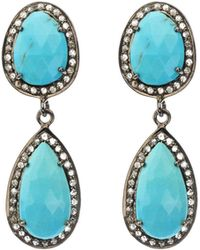 Bavna - Black Silver 2-drop Earrings With Turquoise & Diamonds - Lyst