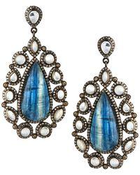 Bavna - Black Silver Marquise Drop Earrings With Kyanite - Lyst