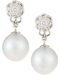 Belpearl - 18k White Gold Diamond Hexagon & Pearl Drop Earrings - Lyst