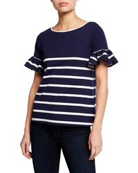 Sail To Sable - Wide Stripe Ruffle Sleeve Top - Lyst