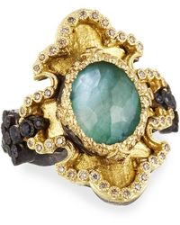 Armenta | Old World Scalloped Scroll Triplet Ring W/ Diamonds & Sapphires | Lyst