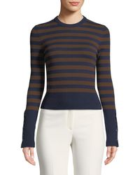 Michael Kors - Starlet Cashmere Striped Button-sleeve Sweater - Lyst