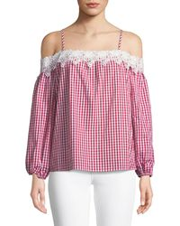 Romeo and Juliet Couture - Lace-trim Cold-shoulder Gingham Blouse - Lyst