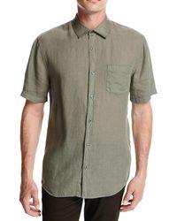 Vince - Short-sleeve Natural-fit Linen Shirt - Lyst