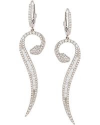 Roberto Coin - 18k White Gold Diamond Snake Earrings - Lyst
