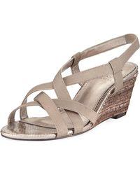 Neiman Marcus - Elastic Stretch Wedge Sandal - Lyst