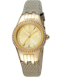 Ferrè Milano - Women's 30mm Stainless Steel 3-hand Glitz Watch With Leather Strap Golden/gray - Lyst