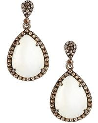 Bavna | Champagne Diamond & Moonstone Teardrop Earrings | Lyst