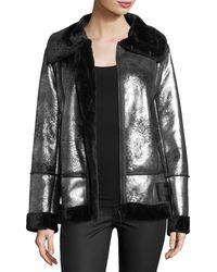 Avec Les Filles - Metallic Faux-shearling Moto Jacket - Lyst