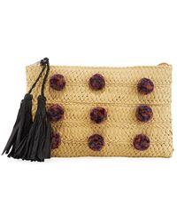 San Diego Hat Company - Woven Raffia Clutch Bag With Pompoms - Lyst