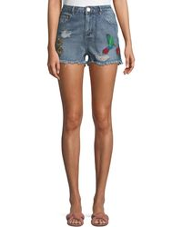 Dex - Embroidered Raw-hem Shorts - Lyst