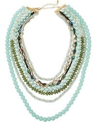 Lydell NYC - Layered Bead & Shell Necklace Black/blue - Lyst