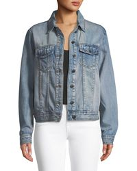 Philosophy - Long-sleeve Denim Jacket W/ Floral Embroidered Back - Lyst