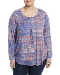 NIC+ZOE - Checked Out Button-front Blouse - Lyst