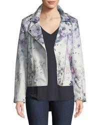 Neiman Marcus - Leather Watercolor Floral Motorcycle Jacket - Lyst