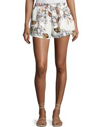 State Of Being - Leafy Floral-print Shorts - Lyst