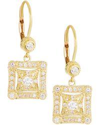Penny Preville - 18k Gold Square Diamond Drop Earrings - Lyst