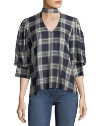 Waverly Grey - Trixie Peek-a-boo Plaid Top - Lyst