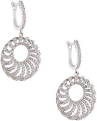 Fantasia by Deserio - Round Puff Pave Crystal Drop Earrings - Lyst