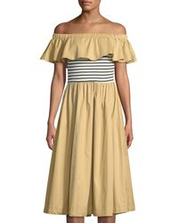 English Factory - Off-the-shoulder Ruffled Midi Dress - Lyst