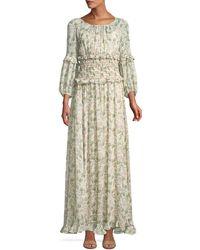 Max Studio - Floral Bubble-sleeve Smocked-waist Maxi Dress - Lyst